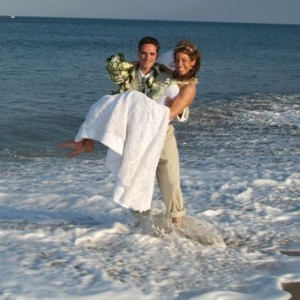 Lovely Bride and Groom at the Beach